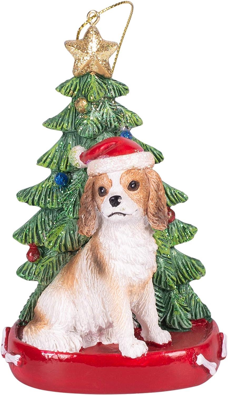 Amazon Com Cavalier King Charles 4 Inch Santa Dog Resin Christmas Ornament Home Kitchen