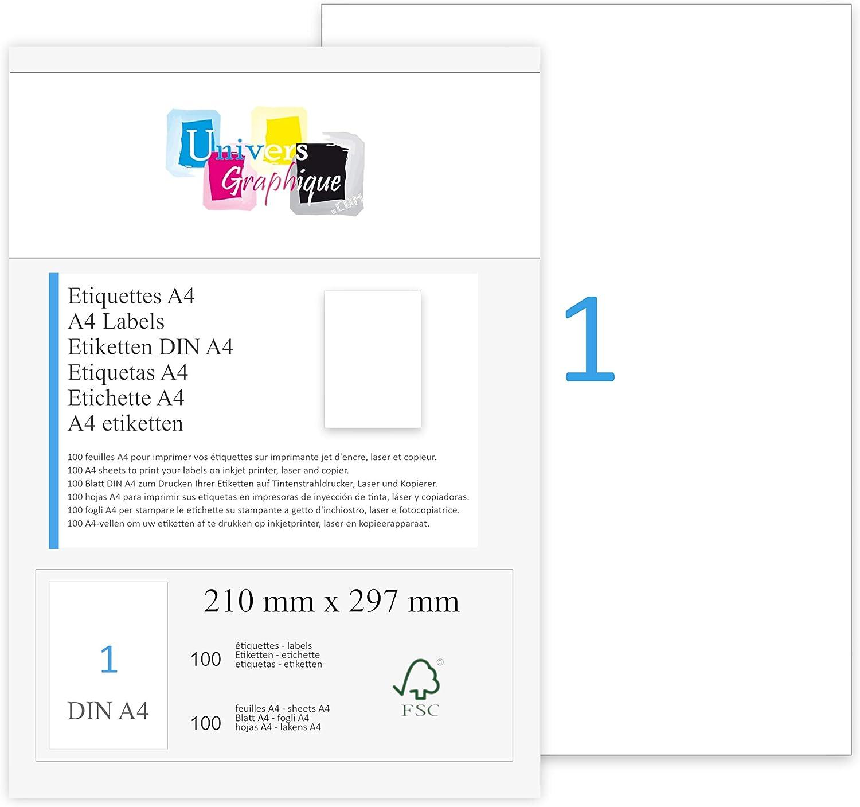12 étiquettes-A4 Collant Peel Autocollante Adresse-Laser Jet D/'encre copieur blanc