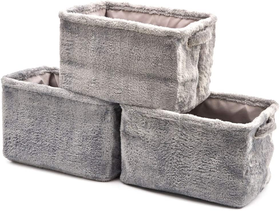 EZOWare Collapsible Large Storage Bins Basket [3-Pack] Plush Fabric Storage Organizer Cube Set W/Handles for Nursery Kids Toddlers Home and Office - Fuzzy Gray 15 L x 10.5 W x 9.4 H