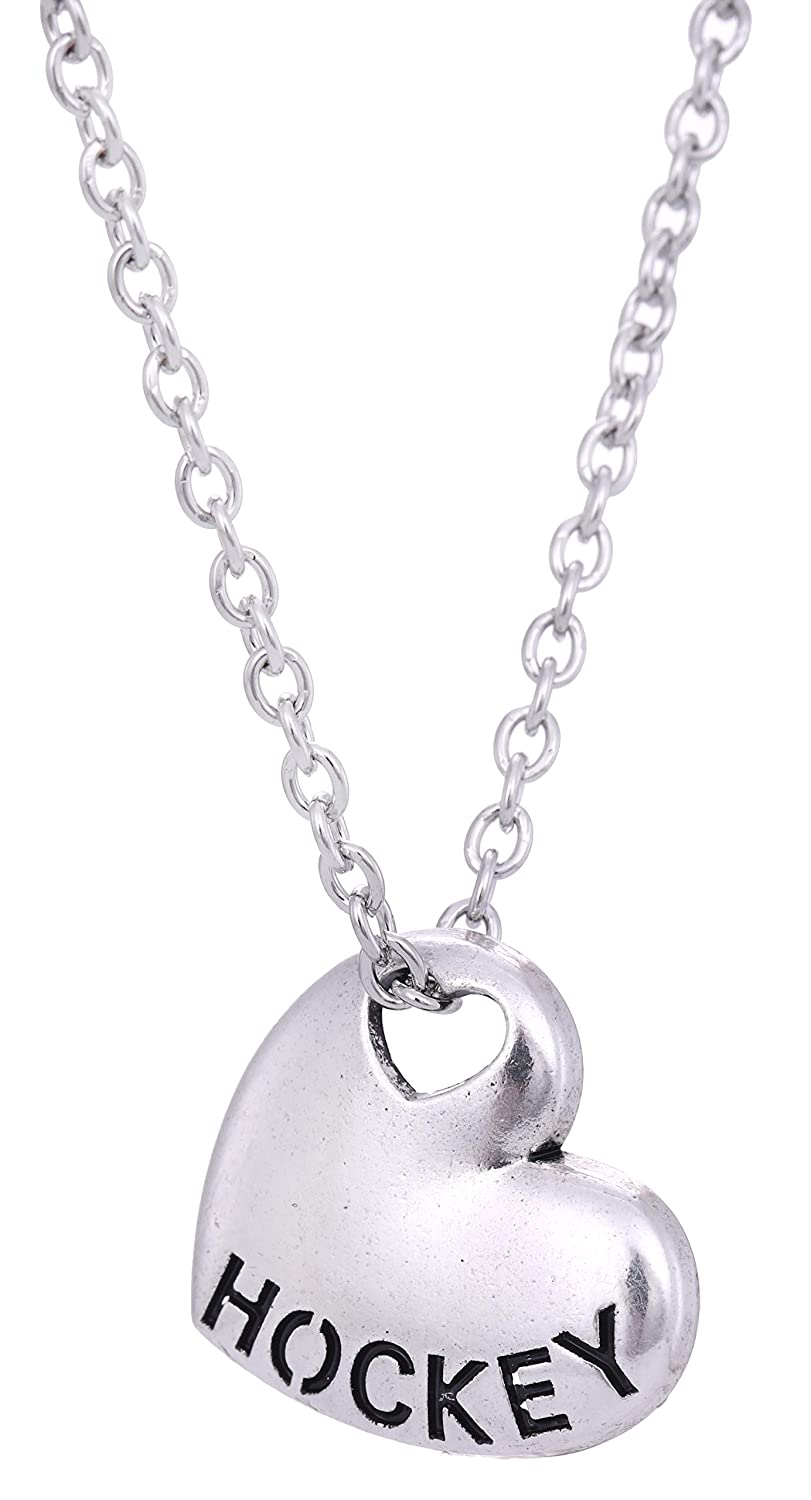 Sports Heart Shape Hockey Pendant Charm Necklace Gift for Outdoors Lovers
