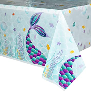 WERNNSAI Mermaid Table Cover - 86.6 × 52 Disposable Printed Plastic Tablecloth, Party Supplies for...