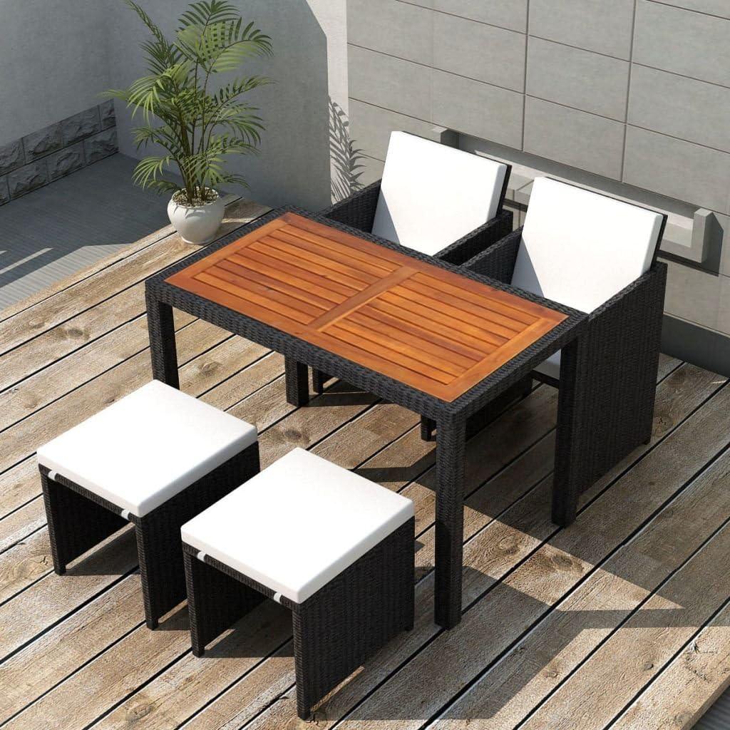 Tidyard Conjunto Muebles de Jardín de Ratán 11 Piezas con Taburetes Sofa Jardin Exterior Sofas Exterior Ratan Conjunto Jardin para Jardín Terraza Patio en Poli Ratán Negro y Marrón: Amazon.es: Hogar