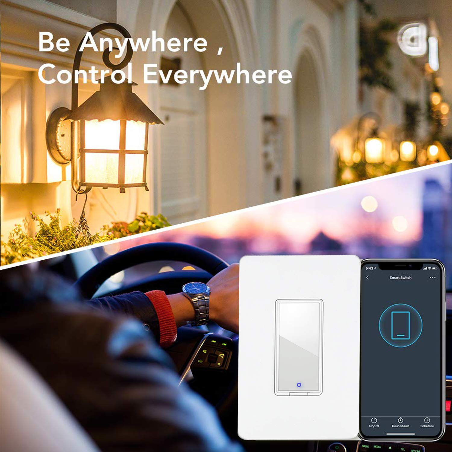 Smart light switch by Lumiman, Compatible with Alexa, Google Assistant, Single-Pole, Schedule, Remote Control Neutral Wire Required, Easy Installation, ETL Listed (2Pack)