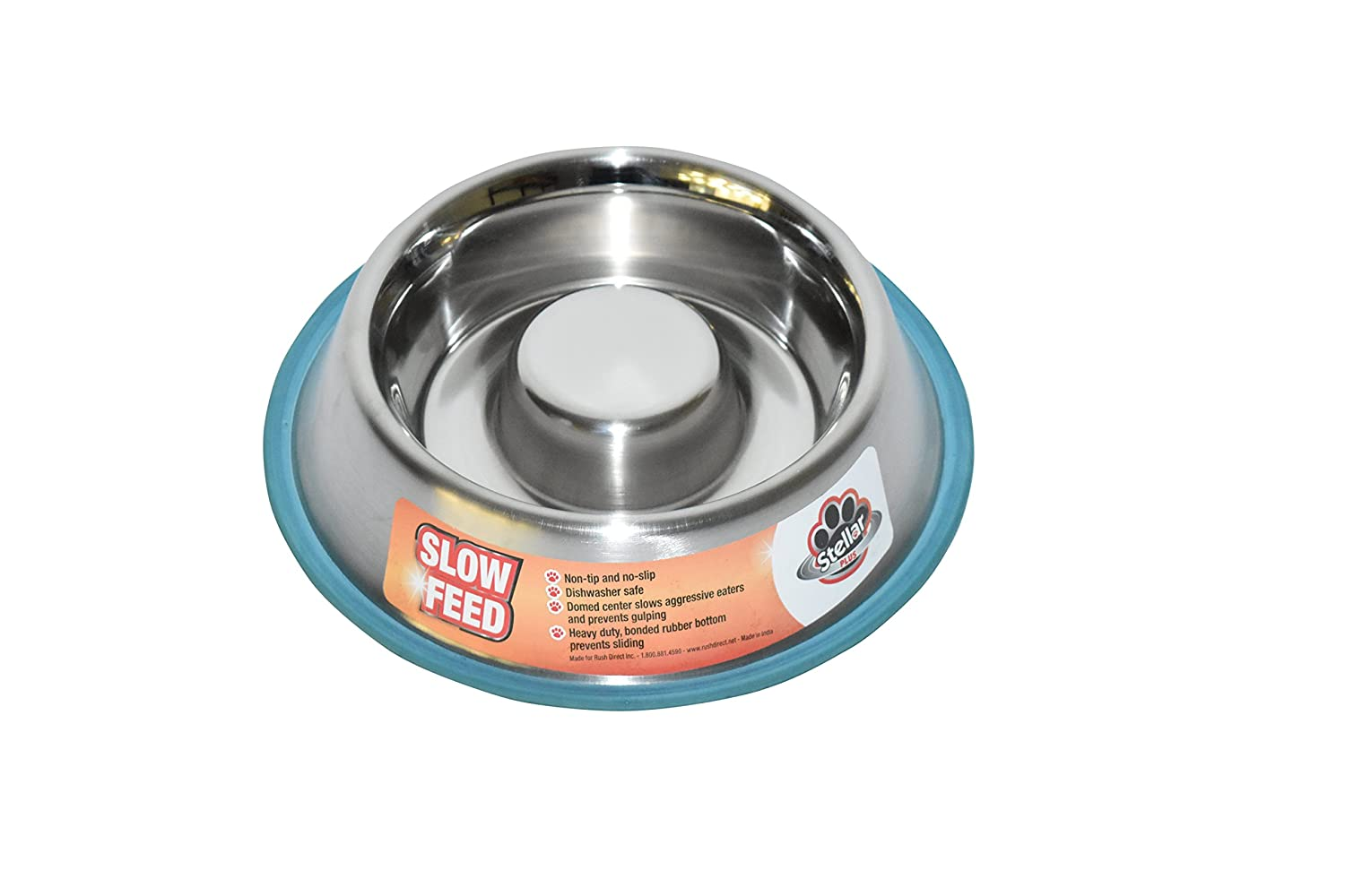 Stellar Bowls Health Care Slow Feed Non Tip Anti Skid Dish with 100% Silicon Bonded Rubber Ring, 45 oz