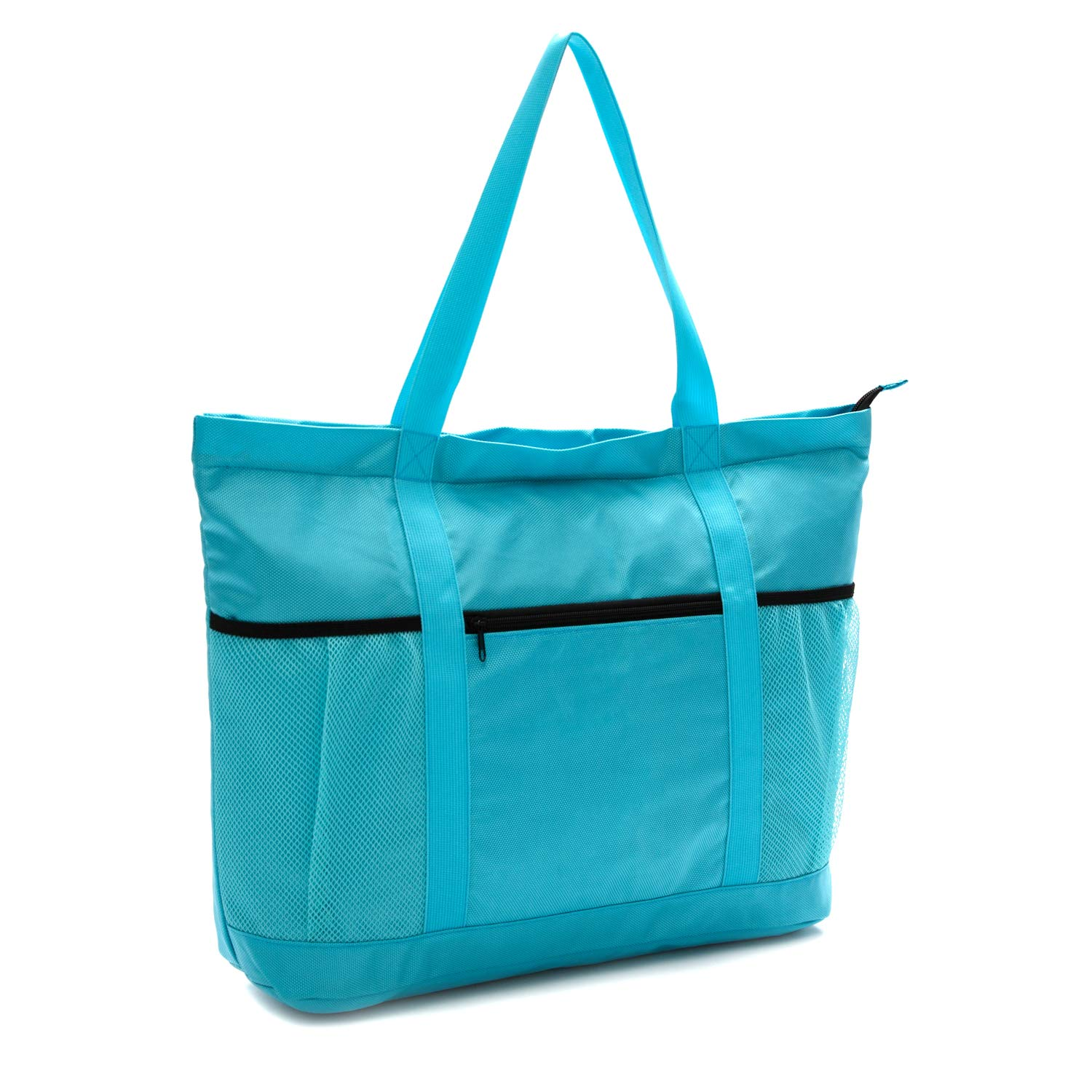 Large Foldable Beach Bag With Zipper - XL Foldable Tote Bag For Travel And Shopping - Large Tote Bag With Many Pockets (Turquoise)