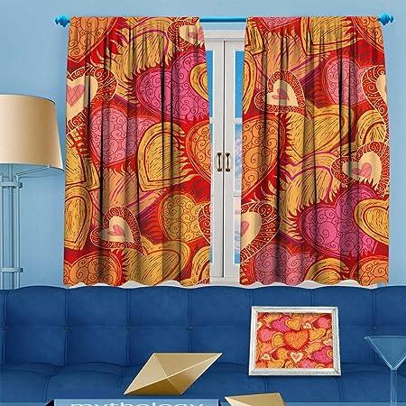 Muyindohome Room Darkening Window Curtain Panel Pair Hearts Folkpat