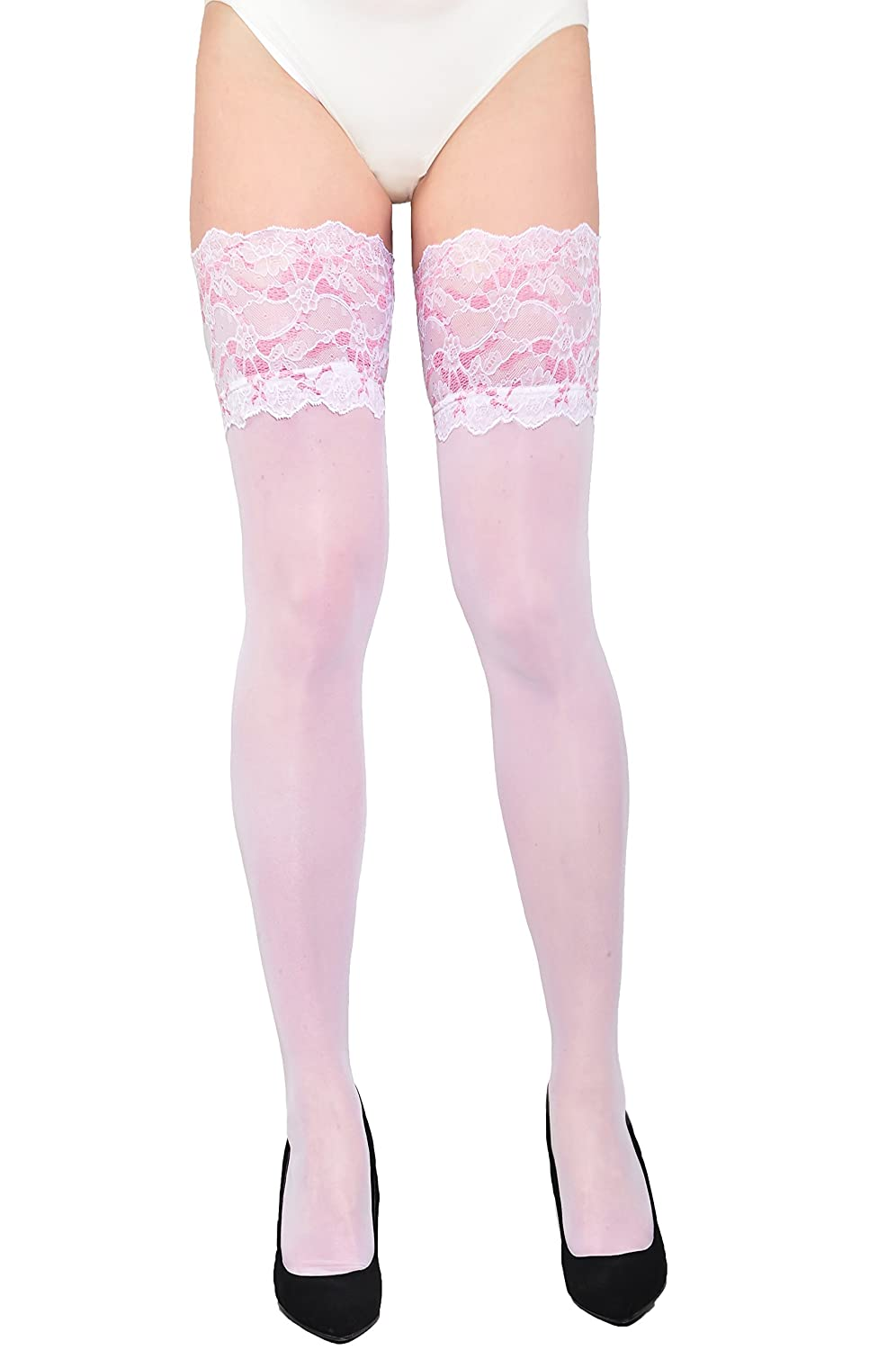 966fb0fa4ba Gabriella Wedding Collection Women s beautiful white thigh high stockings  with wide lace . at Amazon Women s Clothing store