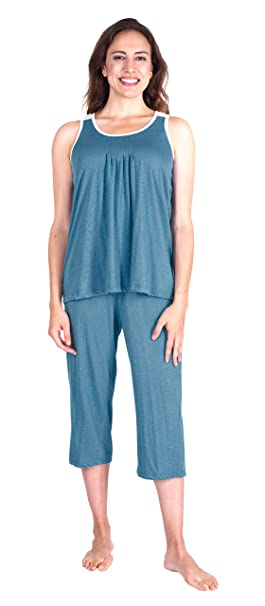 Cool-jams Moisture Wicking Sleepwear for Women - Pleated Tank Capri Set - Comfortable and