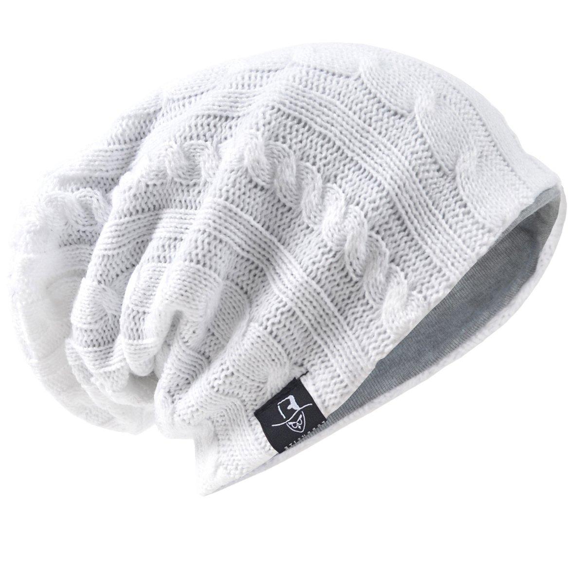 HISSHE Men's Slouch Slouchy Beanie Oversize Summer Winter Skull Cap N010 (Cable-White)