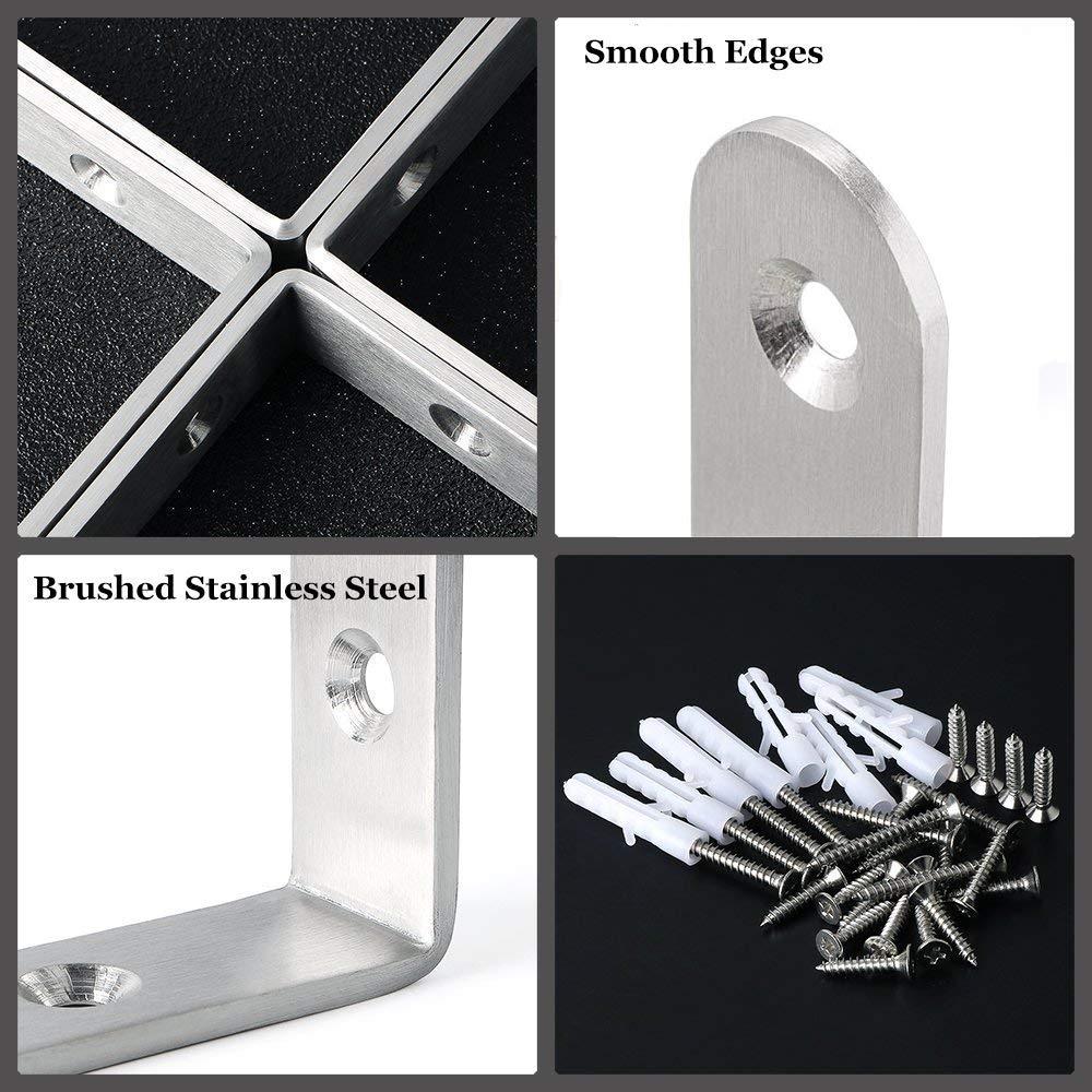 Wei/ß 8 St/ück Metall L Regalwinkel A+Selected Edelstahl Eckwinkel Winkel Winkel Winkel mit 48 Schrauben und 16 St/ück D/übeln 125 x 75 mm