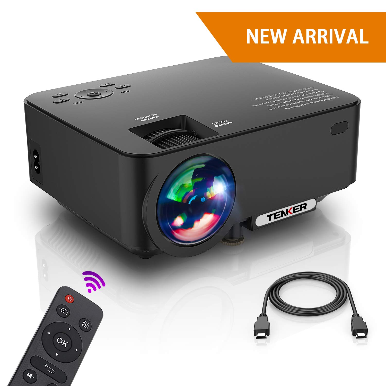 Projector, Upgraded TENKER Projector, Now 65% Brighter, Mini Home Theater Movie Projector with 4.0'' LCD and Up To 176-inch Display, Supports 1080P HDMI/USB/SD Card/AV/VGA for TVs/Laptops/Games (Black)
