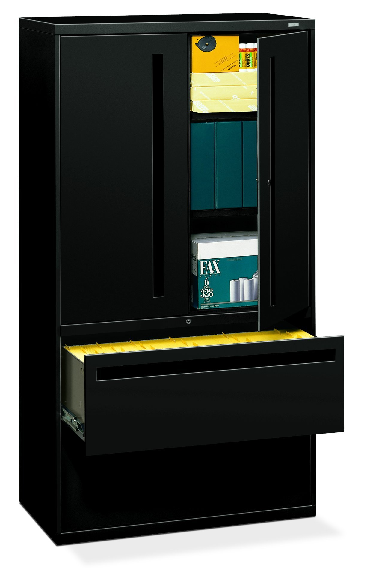 HON 2-Drawer with 3 Shelves Office Filing Cabinet - Brigade 700 Series Lateral File Cabinet, 36'' Wide, Black (H795LS) by HON