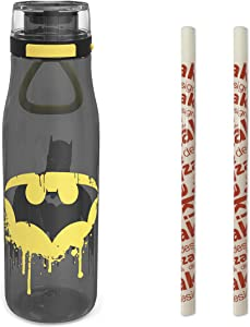 Zak Designs DC Batman, Super Heroes Plastic Water Bottle with Push Button Action, Locking Lid, and Portable Carry Loop, Includes 2 Reusable Straws (25oz, BPA-Free)