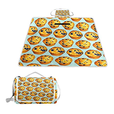 11517bcfb1 Amazon.com : HoDeColor Blueberry Muffin Picnic Blanket Outdoor Tote  Waterproof Backing Handy Camping Beach Hiking Mat : Garden & Outdoor