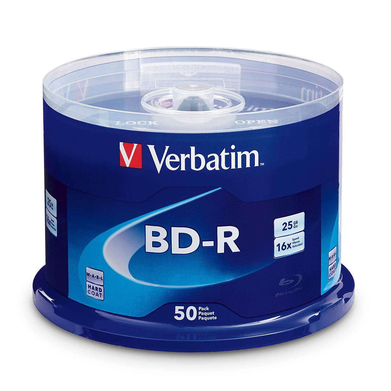 Verbatim BD-R 25GB 16X Blu-ray Recordable Media Disc - 50 Pack Spindle (Renewed) by Verbatim