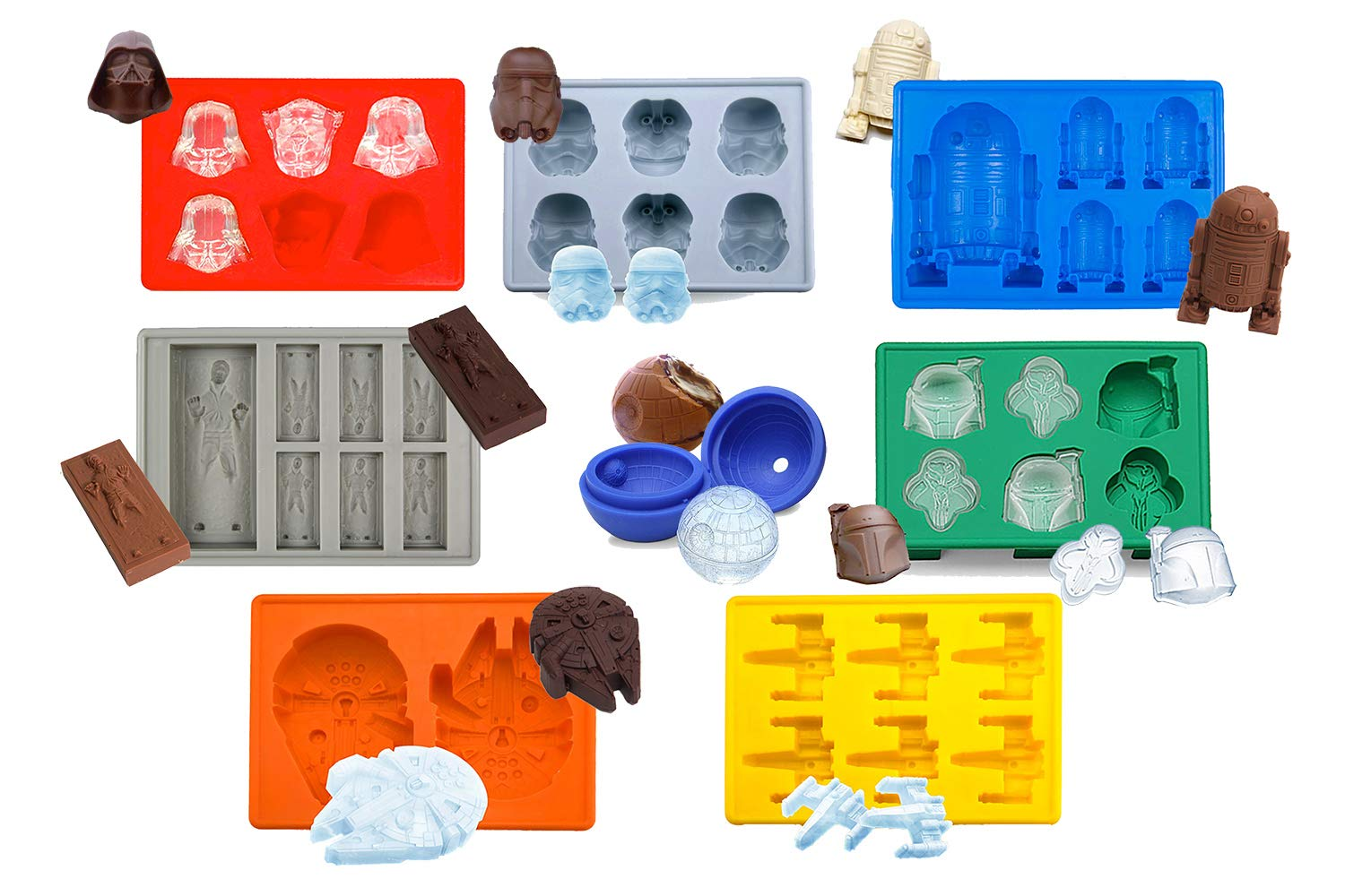Set of 8 Star Wars Silicone Ice Trays / Chocolate Molds: Stormtrooper, Darth Vader, X-Wing Fighter, Millennium Falcon, R2-D2, Han Solo, Boba Fett, and Death Star by Unknown
