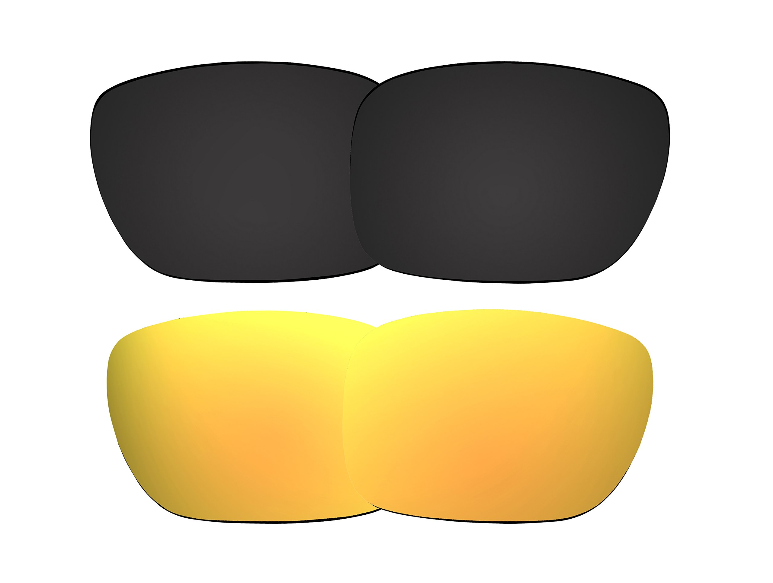 2 Pairs Polarized Replacement Sunglasses Lenses for Oakley Holbrook with UV Protection(Black and Golden Yellow Mirror) by C.D