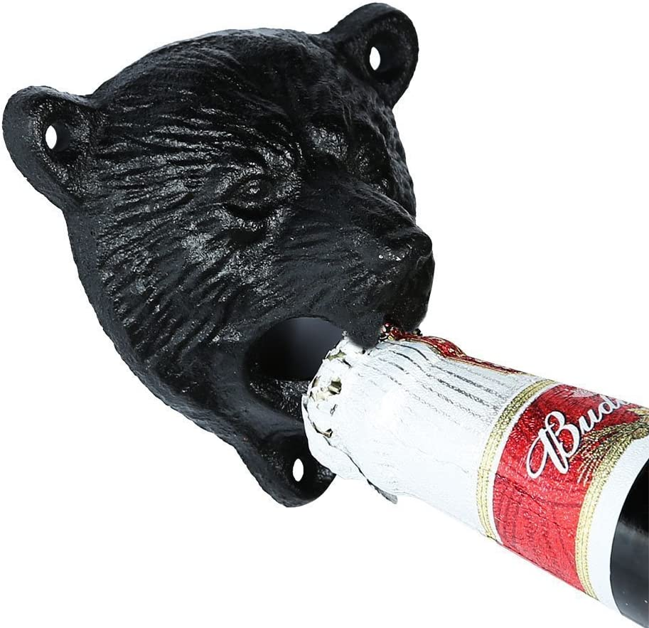 Cast Iron Metal Wall Mount Black Bear Beer//Soda//Pop Top Bottle Opener Pub Decor