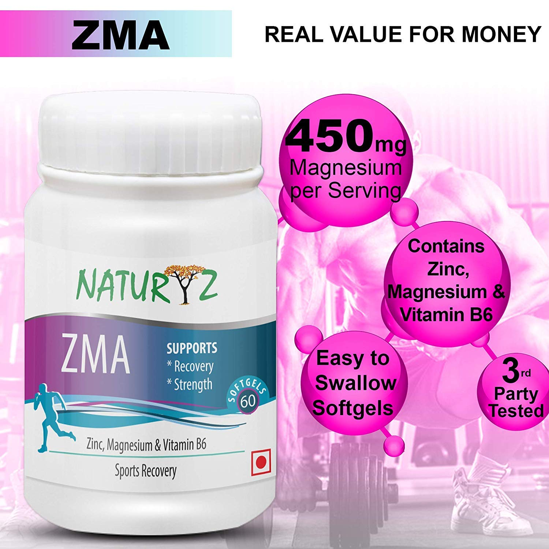Naturyz ZMA (Zinc, Magnesium Aspartate, Vitamin B6) Testosterone Booster & Sports Recovery - 60 Softgels