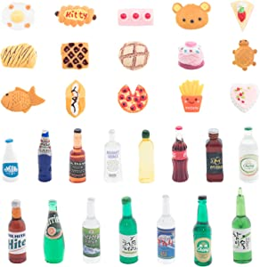 ONEST 30 Pieces Miniature Food Drinks Bottles Dollhouse Play Food Kitchen Play Game Party Toys Doll Toys Dollhouse Toys, Food and Drinks