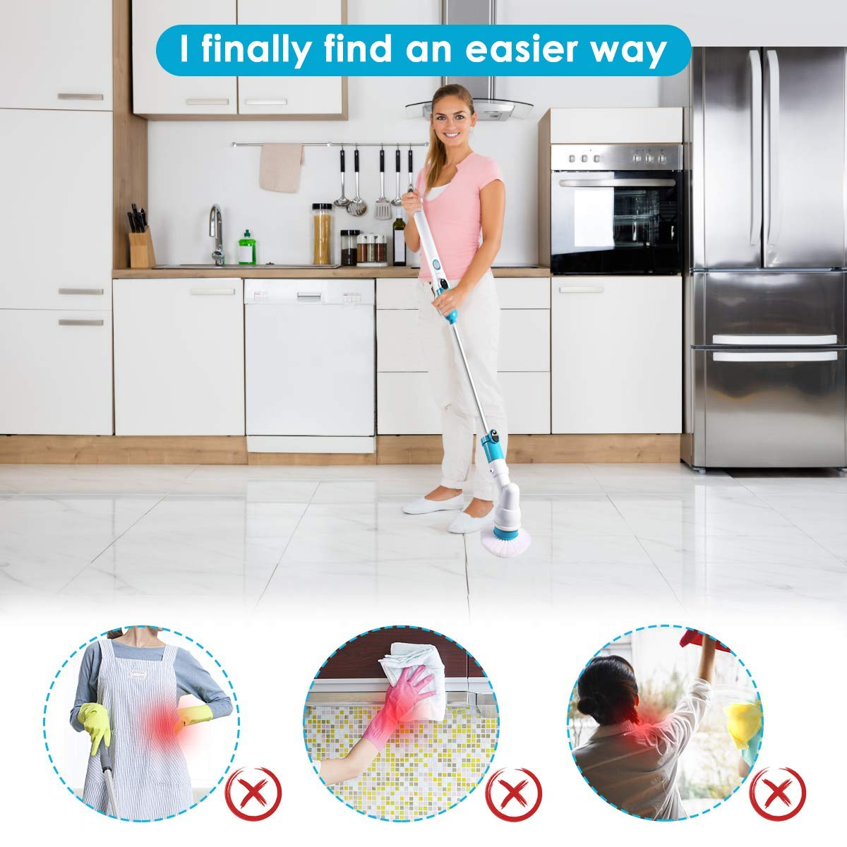 Spin Scrubber, 360 Cordless Tub and Tile Scrubber, Multi-Purpose Power Surface Cleaner with 3 Replaceable Cleaning Scrubber Brush Heads, 1 Extension Arm and Adapter by Bert (Image #5)
