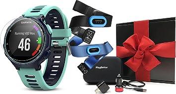 Garmin Forerunner 735XT caja de regalo Bundle | incluye HD protectores de pantalla de vidrio (x2), PlayBetter Wall/Car USB adaptadores y carcasa rígida protectora | Reloj GPS multideporte | Caja de regalo: