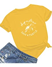 Mom's care Skip A Straw Save A Turtle T Shirt Women Cute Graphic Shirt Ocean Environment Awareness Lovers Tops