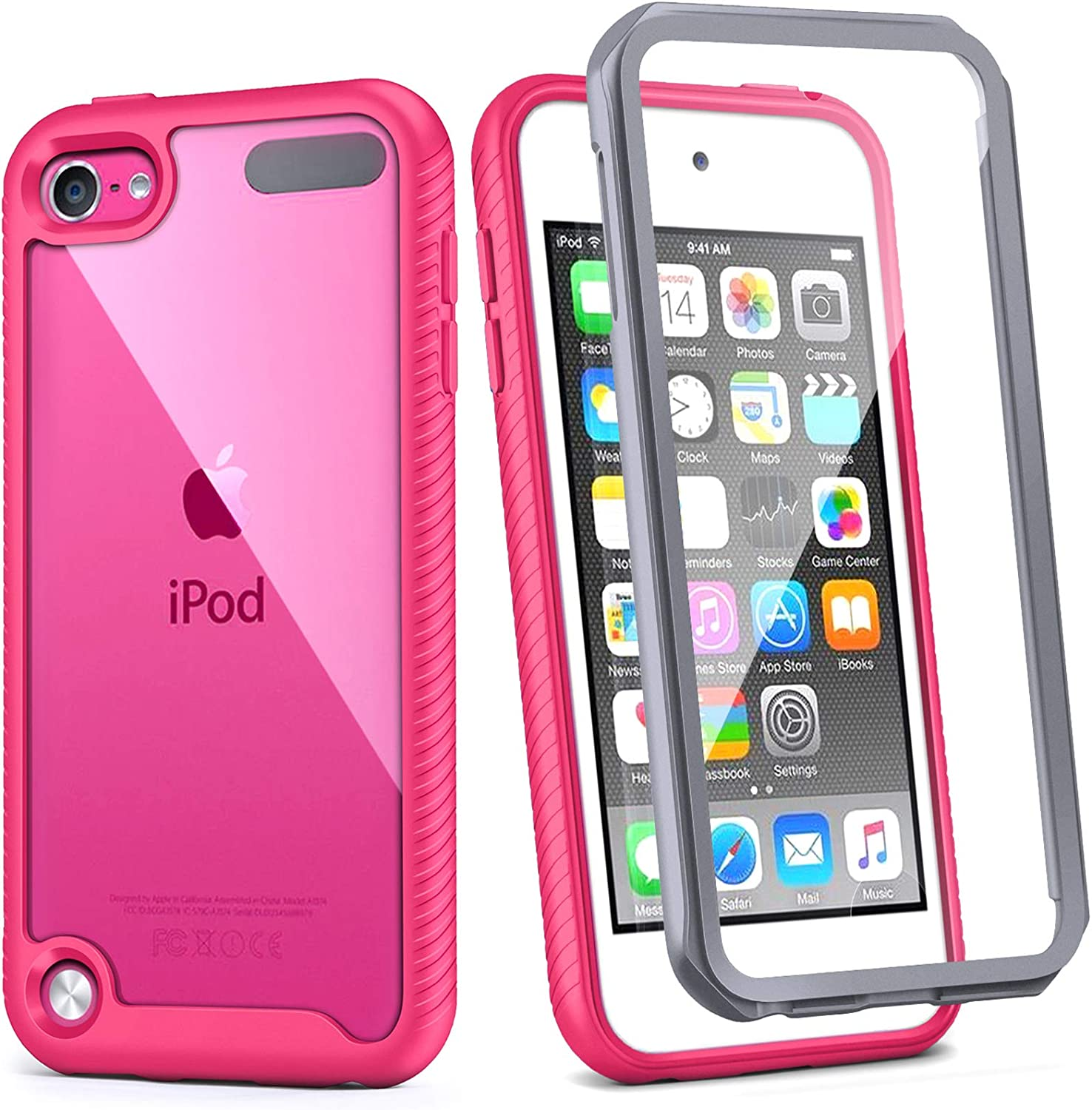 iPod Touch 7th Generation Case, IDweel Armor Shockproof Case Build in Screen Protector Heavy Duty Full Protection Shock Resistant Hybrid Rugged Cover for Apple iPod Touch 5/6/7th Generation, Rose