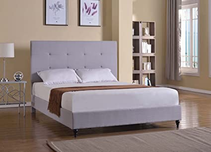 Home Life Cloth Light Grey Silver Linen 47u0026quot; Tall Headboard Platform Bed  With Slats King