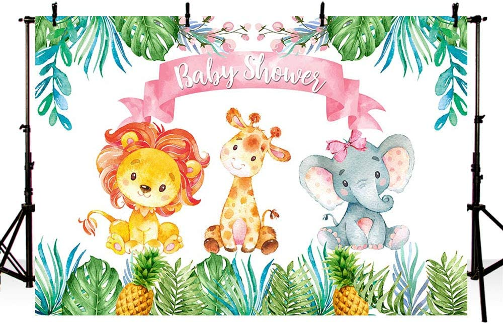 HUAYI 7X5ft Wild Animals Safari Zoo Themed Jungle Baby Shower Decoration Photography Backdrop Background for Childrens Day xt-7553