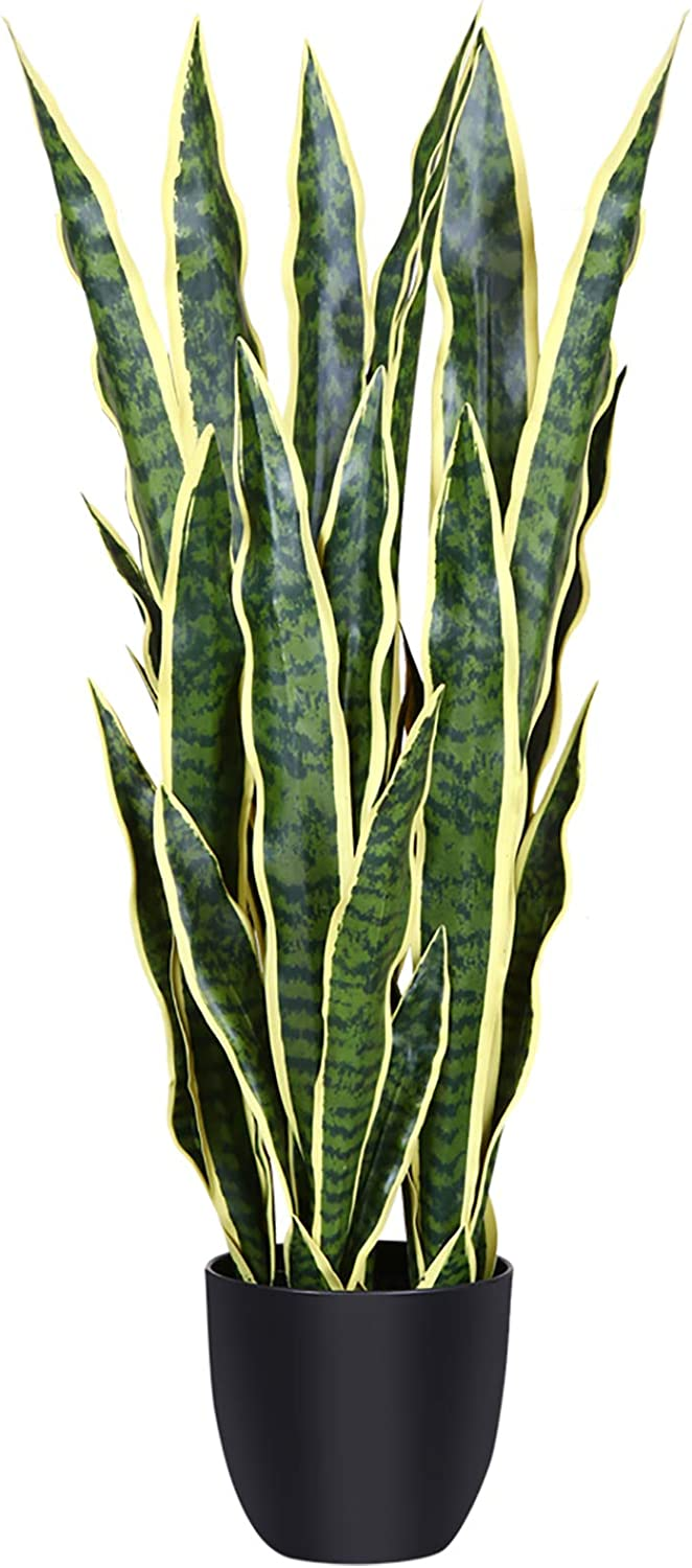 CROSOFMI Artificial Snake Plant 35.4 Inch Fake Sansevieria Tree With 32 Leaves, Perfect Faux Plants in Pot for Indoor Outdoor House Home Office Garden Modern Decoration Housewarming Gift-1Pack, Yellow