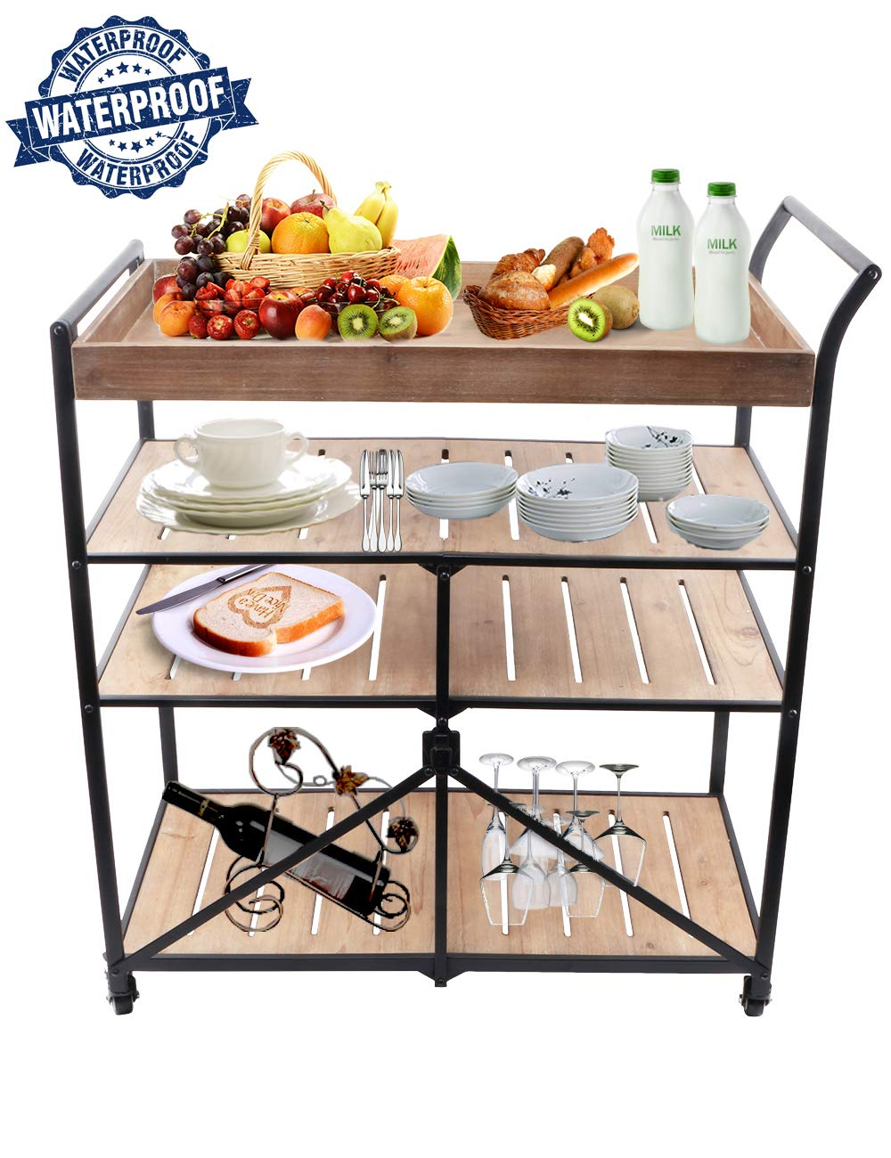 Kitchen Bar Cart 35 Fold 4-Tier Kitchen Serving Cart Can Very Convenient to Place Food