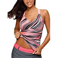 6ba3fcb6f0fa3 Aleumdr Womens Printed Strappy Racerback Tankini Swim Top No Bottom S - XXXL