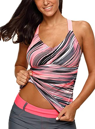 41d4e0fc8c366 Aleumdr Womens V Neck Printed Strappy Racerback Summer Padded Tankini Swim  Top No Bottom Swimwear Small