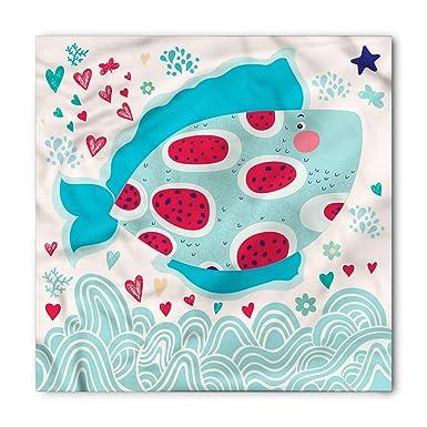 Soefipok Pañuelo marino, corazones de flores y peces, cabeza y ...