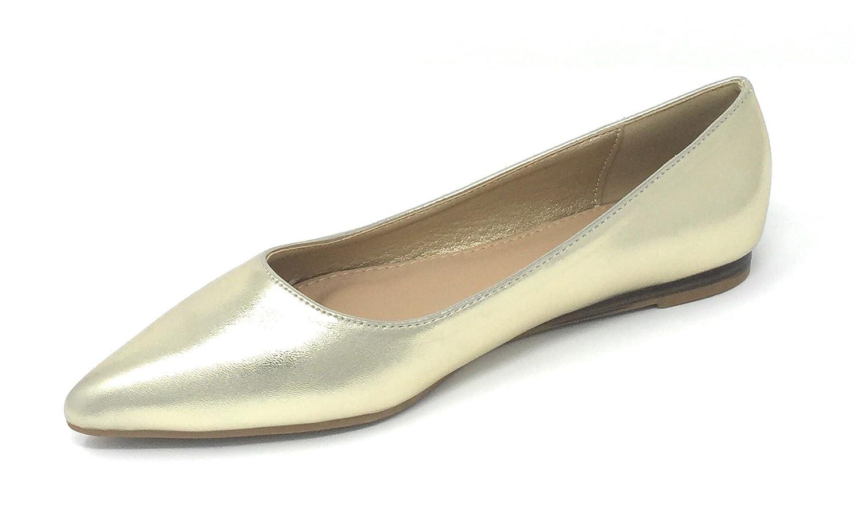 Pierre Dumas Pointed Women's Abby-10 Vegan Leather Pointed Dumas Toe Slip-On Fashion Dress Flats Shoes B076QJBWD4 6.5 B(M) US|Gold e12b3a