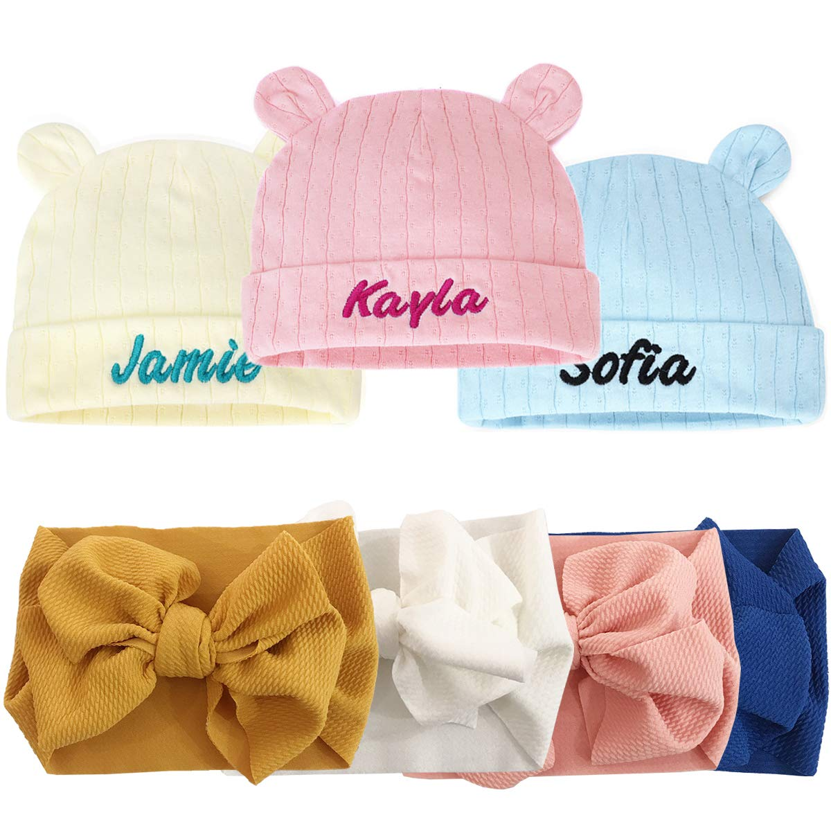 white baby shower gift with name pink boho baby girl cute Newborn Hospital Hat Caps Infant Hats Girls PERSONALIZED hat hat tan