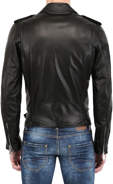 New Men Genuine Lambskin Leather Designer Jacket Motorcycle/ N265