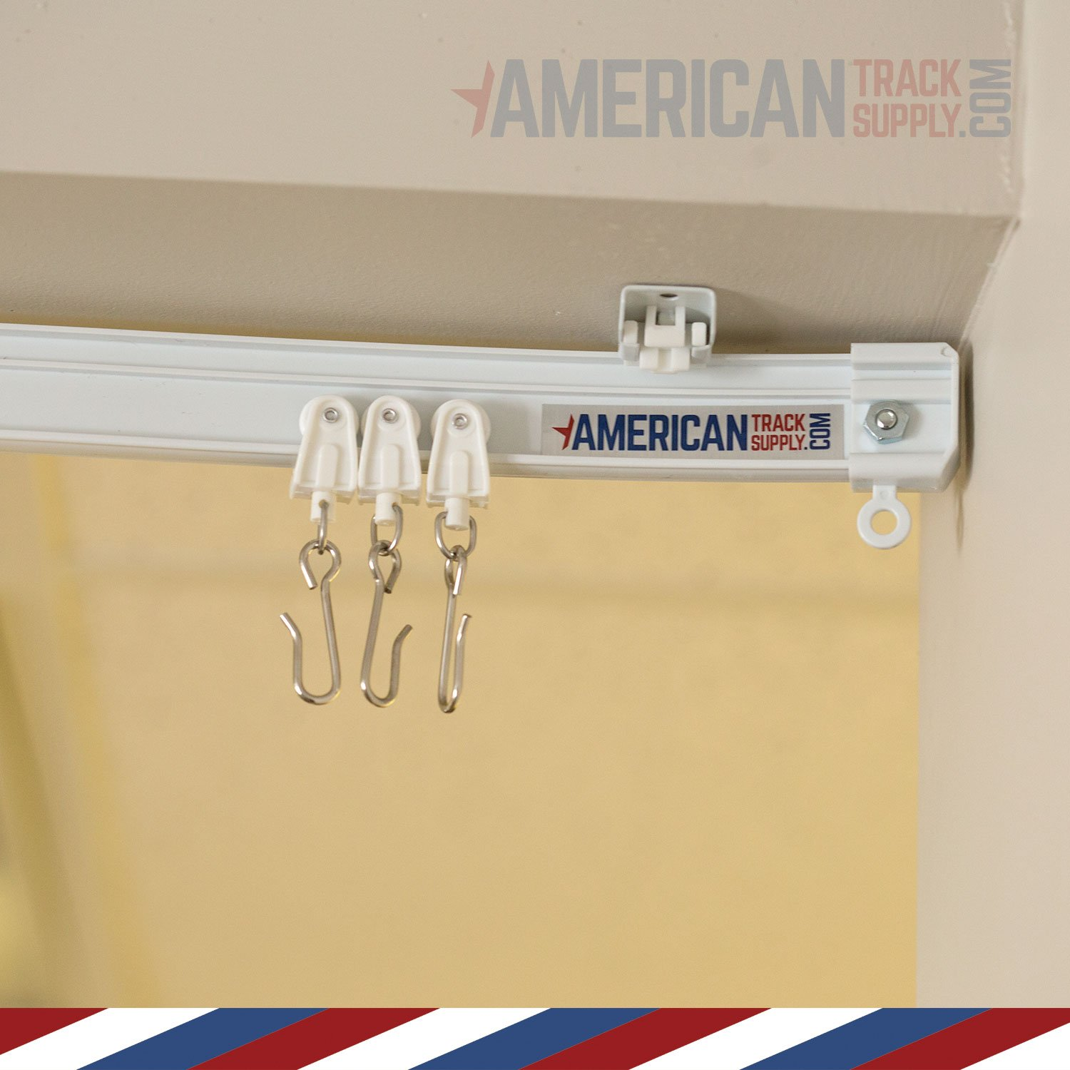 Curtain and Drapery Ceiling Track Set with Hooks - 3 Meter (9.8 feet) of Track, Easily Cut to Size and Everything Included for Install by American Track Supply (Image #3)