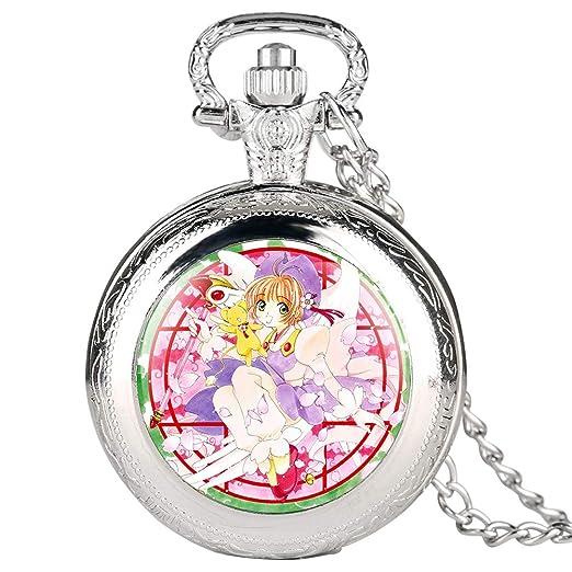Reloj de Bolsillo Plateado para Mujer, diseño de Personajes de Dibujos Animados, Reloj de Bolsillo para niña, Reloj de Bolsillo Digital arábigo para ...