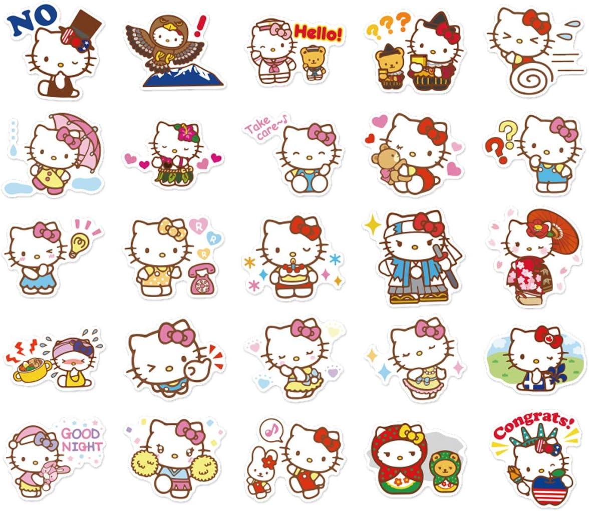 Hello Kitty Aufkleber Japanische Sanrio Kawaii Aufkleber ästhetische Vinyl Aufkleber Für Wasserflaschen Skateboard Laptop Für Kinder Erwachsene Teenager Wasserfest 100 Stück