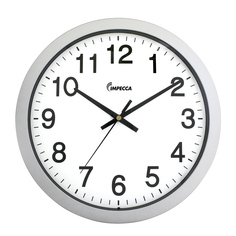 Amazon impecca non ticking 18 inch extra large railway wall amazon impecca non ticking 18 inch extra large railway wall clock silver home kitchen amipublicfo Choice Image
