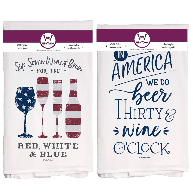 Wine Winks Wine Kitchen Towels 4th Of July Set