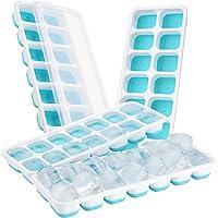 【Upgrade Version】 4 Stück Eiswürfelform, TOPELEK Silikon Eiswuerfel Form Eiswuerfelbehaelter Mit Deckel Ice Tray Ice Cube 14-Fach, Kühl Aufbewahren, LFGB Zertifiziert, Blau