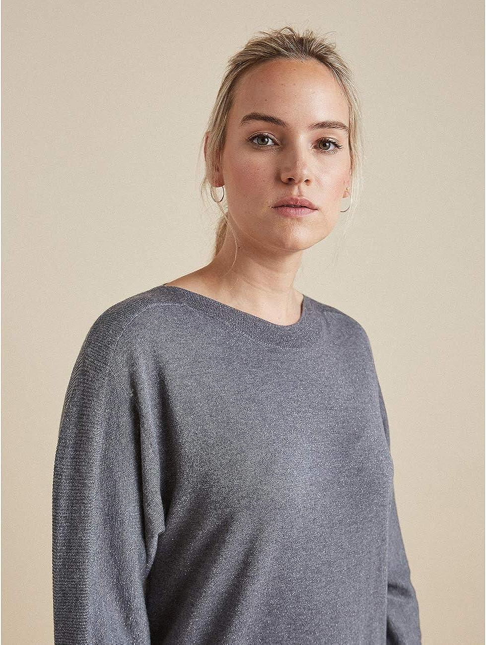 Elena Mirò : Pullover mit Bündchen in Rippenstrick (Italian Size) Grau