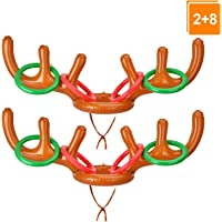 Browill [2+8] Inflatable Antler Ring Toss, Reindeer Ring Toss Stocking Stuffers for Christmas Party Games Funny Gifts Under 10 Dollars Pin The Nose on Rudolph Kids Adults Family & Office Party Favors