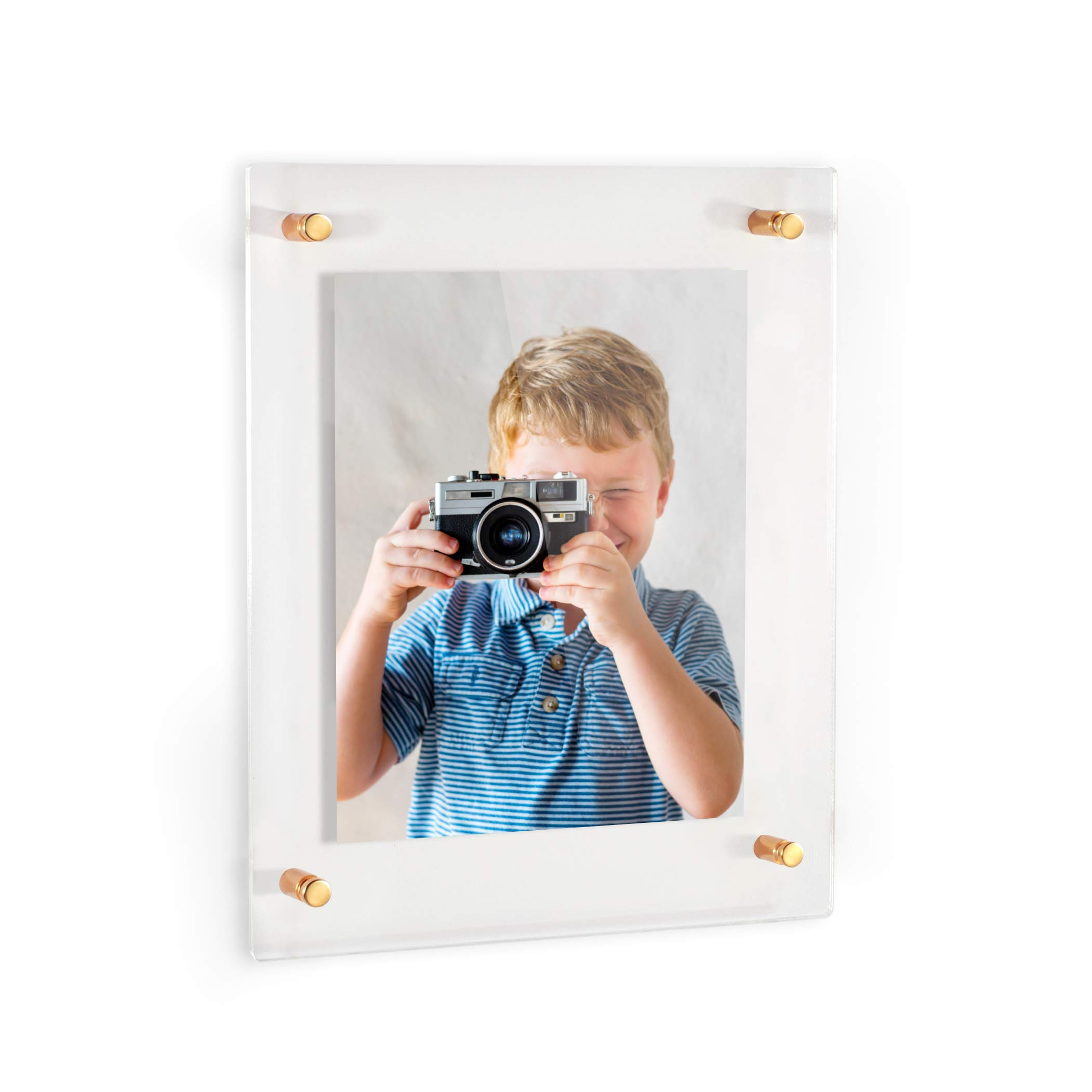 ArtToFrames Floating Acrylic Frame for Pictures Up to 16x20 inches (Full Frame is 20x24) with Gold Standoff Wall Mount Hardware, Acrylic-109-16x20-71