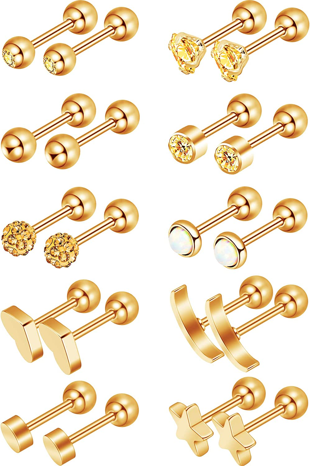 Jovitec Round Ball Stud Stainless Steel Barbell Earring Set Cartilage Helix Earring Piercings for Tragus Cartilage Ear