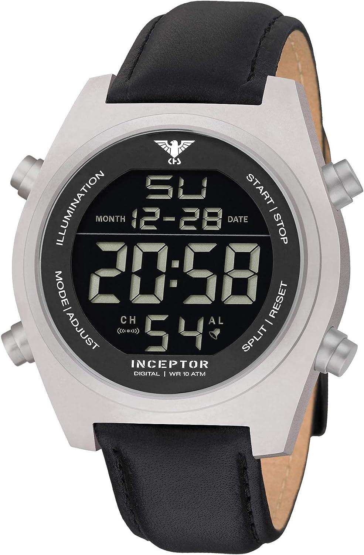 KHS Inceptor Steel Digital KHS.INCSD.L - Reloj digital con correa de piel, color negro