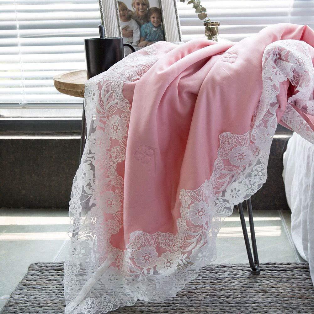 サマーキルト、ハイエンドシルク、ラージレース、サマークールキルト、エアコンキルト、洗える、200×230 cm B07QDH94GJ Pink